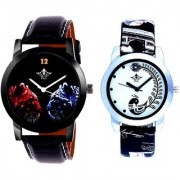 Black Dial 2 Jaguar And Black Peacock Couple Analogue Watch By Vivah Mart