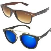 Silver Kartz Combo of 2 Wayfarer Unisex Sunglasses(scm43//Brown//Blue)
