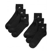 Adidas 6 Pair Mens Quarter Crew Cushioned Socks Shoe Size 6-12
