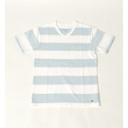 SHIPS Days: ワイドボーダー ポケット Tシャツ Vネック【シップス/SHIPS メンズ Tシャツ・カットソー ライトブルー ルミネ LUMINE】