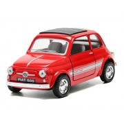 Kinsmart 1:24 Scale Fiat 500 Die-Cast Toy Car with Openable Doors and Pull Back Action (Multicolour)