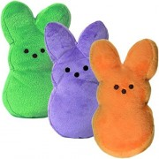 Set of 3 Plush 9' Peeps Bunnies Cute Bunny Rabbits Soft Stuffed Animals Toys Easter Basket Filler Stuffer