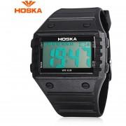 HOSKA H033B Niños Reloj Digital Cronógrafo De La Alarma Del Día Del LED De Visualización Del Dial Del Rectángulo 5ATM Reloj De Pulsera (Negro)