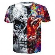 3D Mechanical Tiger Print Men's Casual Short Sleeve Graphic T-shirt
