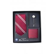 Ben Sherman Major Silk Stripe Tie Pocket Square Pin Set RED