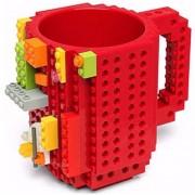 Taza Roja Build-on Diseño Bloks De Construccion Lego-Rojo