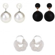Chrishan high gold plated designer alloy combo of pearl and spring stud earring set for women and girls.