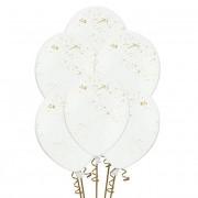 Globos de látex con salpicadura dorada blancos de 30 cm - 6 unidades