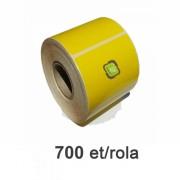 Role de etichete semilucioase 100x70mm galbene, 700 et./rola