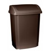 Cos gunoi din plastic cu capac batant Swing 25 litri maro