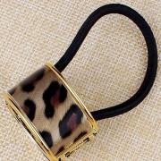 V&V Spona do vlasů, samozavírací obojek zvířecí motiv (tmavý leopard) - V&V