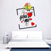 EJA Art Valentine You and Me Wall Sticker (Material - PVC) (Pec - 1) With Free Set of 12 pec butterflies sticker