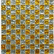 Maxwhite JSM-JM027 Mozaika skleněná šachovnice žlutá stříbrná 29,7x29,7cm sklo