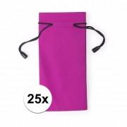 Merkloos 25x Zonnebrillen etui van stof roze 18 cm