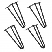 "[en.casa]® Stilske nogare za stol – ""ukosnica"" set (4 komada) - 30 cm - crna"