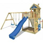 WICKEY Aire de jeux Portique bois Smart Sand avec balançoire et toboggan bleu