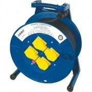 Elektra Kabelhaspel 50M (blauw) 3 x 1,5mm met 4 contactdozen en zware rubberkabel (zwart) H07RN-F 3 x 1,5mm Jumbo