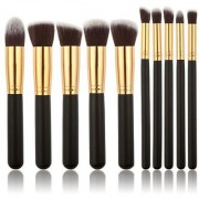 10 pcs Makeup Brush Set Cosmetics Foundation Blending Blush Eyeliner Face Powder Brush Makeup Brush Kit (Black Golden)