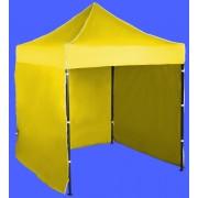 Gyorsan összecsukható sátor 2x2m – acél, Sárga, 3 oldalfal