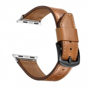 Knife Tail Genuine Leather Watch Band Strap for Apple Watch Series 5/4 40mm / Series 3/2/1 38mm - Brown