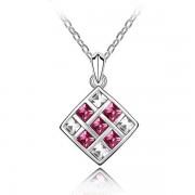 Elegáns mozaik nyaklánc rózsaszín kövekkel