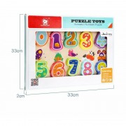 Puzzle din lemn Numere si animalute, 10 piese, 2 ani+