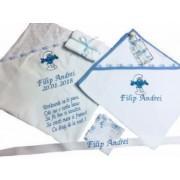Trusou personalizat pentru botez baieti si fete cu 6 piese personalizate prin broderie cu imagine disney text si nume. Dede Brodi Star