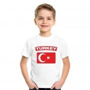 Bellatio Decorations T-shirt Turkse vlag wit kinderen XL (158-164) - Feestshirts