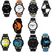 Gen-Z GENZ-CO-10-0001 trendy Graphic Leather Strap Combo of 10 Multi-Color Round Dial watches for Men's