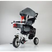 Tricikl Guralica Playtime 416 Star sa rotirajućim sedištem i tendom od lanenog platna - Sivi
