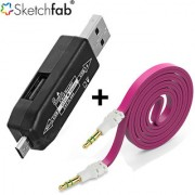 Sketchfab Combo of Smart OTG Micro USB OTG Smart Flat Aux Stereo 35mm Music Transfer Cable for Mobiles and Speakers - Assorted Color
