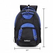 LeeRooy 30L Blue Black Canvas Laptop Bag Backpack For school college office as shoulder bag for men women boys girls