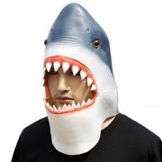 CreepyParty Máscara de cabeza de tiburón de látex, diseño de Halloween