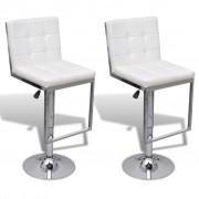 vidaXL Justerbar barstol med snurr och högt ryggstöd i vitt konstläder, 2 st.