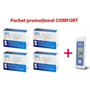 Pachet COMFORT: 4 cutii teste glicemie FORA Comfort + glucometru FORA G71a (valabilitate teste: 6 luni de la deschiderea flaconului)