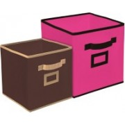 Billion Designer Non Woven 2 Pieces Small & Large Foldable Storage Organiser Cubes/Boxes (Pink & Coffee) - CTKTC35326 CTLTC035326(Pink & Coffee)