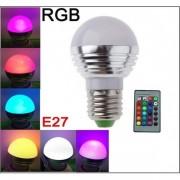 Bec LED RGB cu 16 culori si telecomanda