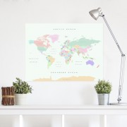 Prikbord Wereldkaart van kurk Woody Map XL Retro | Miss Wood