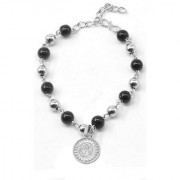 Men Style Religious Jewellery Hindi Om Charm Yoga Buddhist Om Ohm Silver And Black Zinc Alloy And Crystal 00 Bracelet