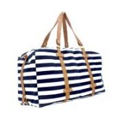 Kleio Unisex Striped Duffle Weekend Bag Travel Duffel Bag(Blue, White)