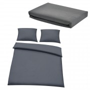 Комплект спално бельо [neu.haus]® плик за завивка(200x200cm) и чаршаф(180-200x200cm), калъф за възглавница (2* 80x80см), Сив