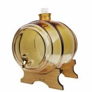 Damigeana Tip Butoi din Sticla cu Robinet, Capacitate 1L, Culoare Coniac + Suport de Lemn