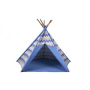 "Pacific Play Tents Kids Blue Striped Cotton Canvas Teepee Tent - 45"" x 45"" x 56"""