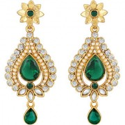 Sukai Jewels Green Pearl Ruby Gold Plated Zinc Cz AD Studded Dangle and Drop Earring for Women & Girls [SER232G]