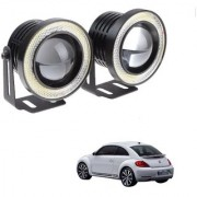 Auto Addict 3.5 High Power Led Projector Fog Light Cob with White Angel Eye Ring 15W Set of 2 For Volkswagen Beetle