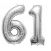 De-Ultimate Solid Silver Color 2 Digit Number (61) 3d Foil Balloon for Birthday Celebration Anniversary Parties