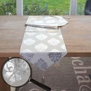 Tischläufer Barock, Tischdecke Tischdeko Mitteldecke, beige silber Glanz-Effekt 180x33cm ~ Variantenangebot