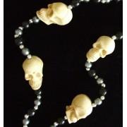 Human Skull White Skulls Beads Necklace New Orleans Mardi Gras Cajun Carnival Festival