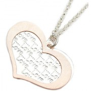 LeCalla Heart Scribbled Love Silver Necklace
