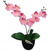 vidaXL Plantă artificială orhidee cu ghiveci, 30 cm, roz
